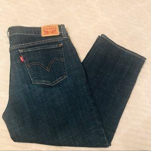 Levi's Dark Wash Stretch Capri Cropped Jeans 30 10